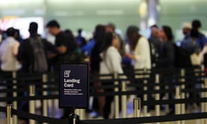 Passengers entering the UK at Heathrow airport