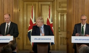 From left: Prof Chris Whitty, Boris Johnson and Sir Patrick Vallance.