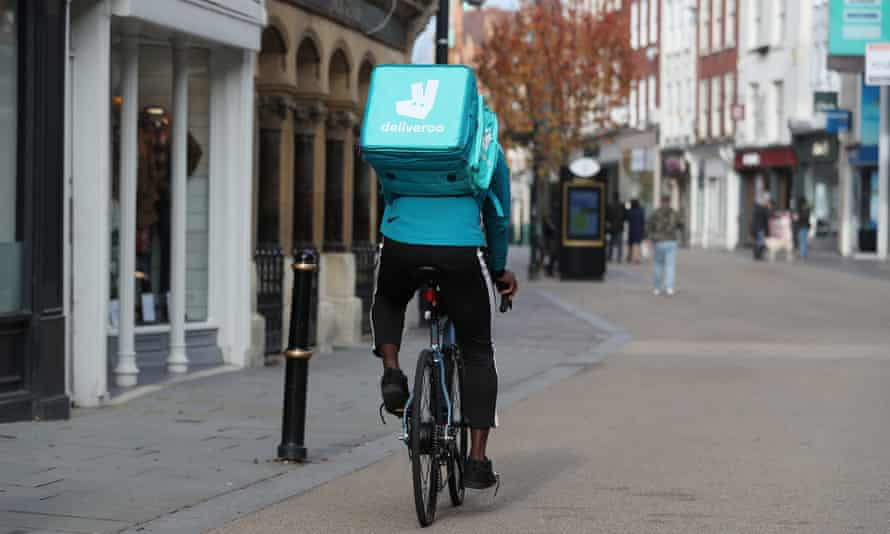 A Deliveroo rider in Worcester.