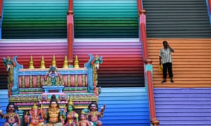 The newly painted 272-step staircase leading to Batu Caves Hindu temple.