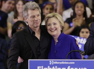 Jon Bon Jovi joined Hillary Clinton on stage when she delivered an address at Rutgers University, Newark, in June.