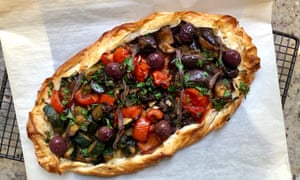 Ratatouille filo tart with anchovy and olives