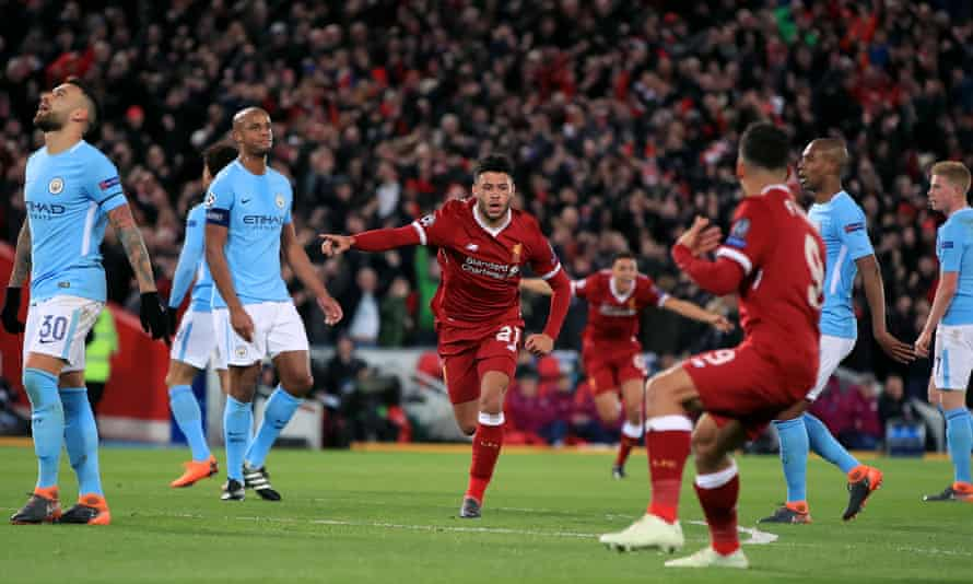 Liverpool's Alex Oxlade-Chamberlain celebrates after his tremendous finish put his side 2-0 up after only 20 minutes against Manchester City in the Champions League quarter-final first leg.