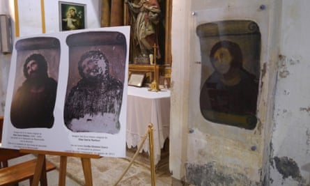 The partially restored painting.