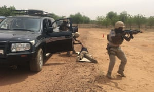 Nigerien police take part in the annual US-led Flintlock exercise in Niamey, Niger last month.