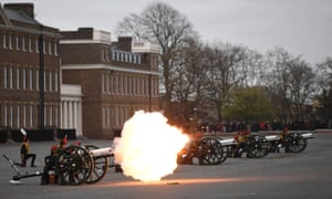The Death Gun Salute is fired by The Kings Troop Royal Horse Artillery to mark the passing of Britain's Prince Philip, Duke of Edinburgh, at the Parade Ground, Woolwich Barracks in central London.