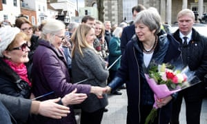 Theresa May meeting members of the public in Salisbury after visiting the scene where former Russian intelligence officer Sergei Skripal and his daughter Yulia were found after they were poisoned with a nerve agent.