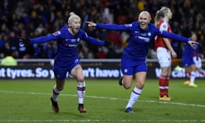 Bethany England of Chelsea celebrates after scoring her team's second goal.