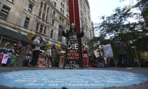 An Occupy Wall Street activist takes part on the fifth anniversary of the original protest.
