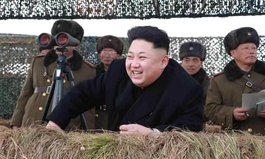 Kim Jong-un watches a drill of the Korean People's Army in this undated photo.