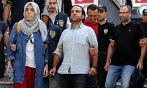 Arrested Turkish journalists Busra Erdal, Bulent Mumay and Ali Akkus.