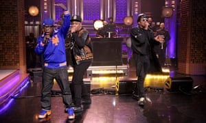 A Tribe Called Quest, backed by the Roots, on The Tonight Show starring Jimmy Fallon, (l to r) Jarobi White, Phife Dawg,and Q-Tip, 2015.