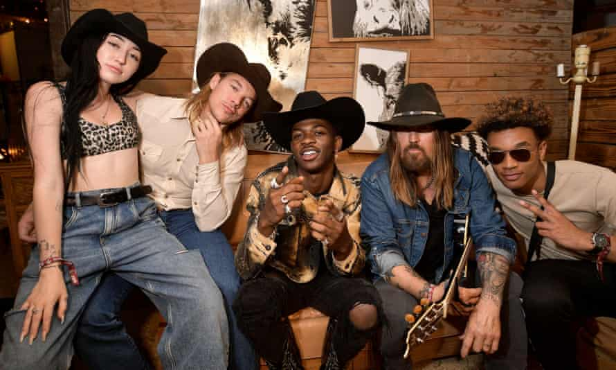 Lil Nas X with Noah Cyrus, Diplo, Billy Ray Cyrus and YoungKio at the Stagecoach festival in California in April 2019