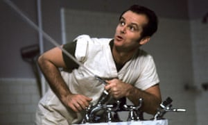 Jack Nicholson as the incorrigible troublemaker McMurphy.