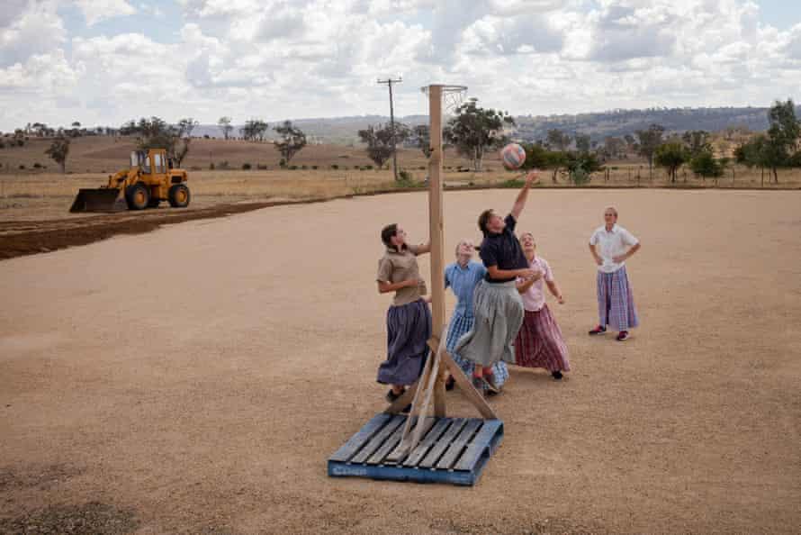 Girls playing basketball, Danthonia community, Australia