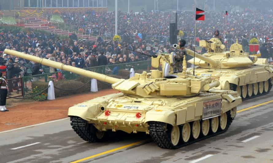 Indian tanks at the Republic Day parade.