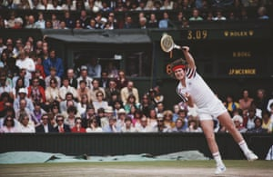 John McEnroe serves to Bjorn Borg in the 1980 Wimbledon final. The following year he defeated the Swede in SW19 to win the first of three titles.