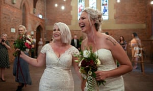 Rebecca Hickson and Sarah Turnbull after being married in Newcastle on 9 January.
