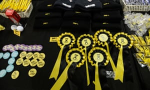 Merchandies on sale at the SNP conference in Glasgow.