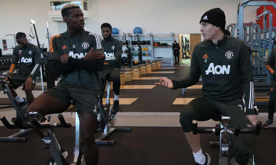 Paul Pogba (and Victor Lindelöf of Manchester United in the gym.