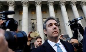Michael Cohen leaves court in Manhattan.