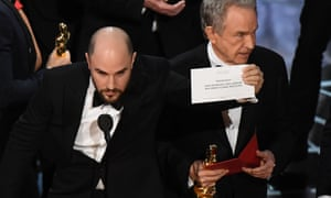 La La Land producer Jordan Horowitz holds up the card for the correct winner of best picture in 2017, Moonlight.