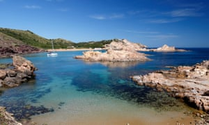 View over Cala Pregondo and Cala Pregonda, near Fornells, North Coast, Menorca, Balearic Islands, Spain, Europe