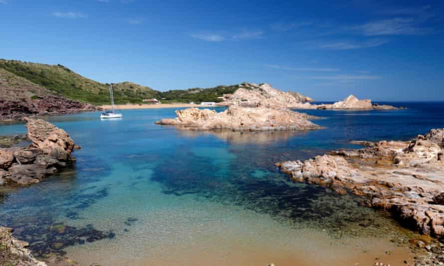 View over Cala Pregondo and Cala Pregonda, near Fornells, North Coast, Menorca, Balearic Islands, Spain, Europe