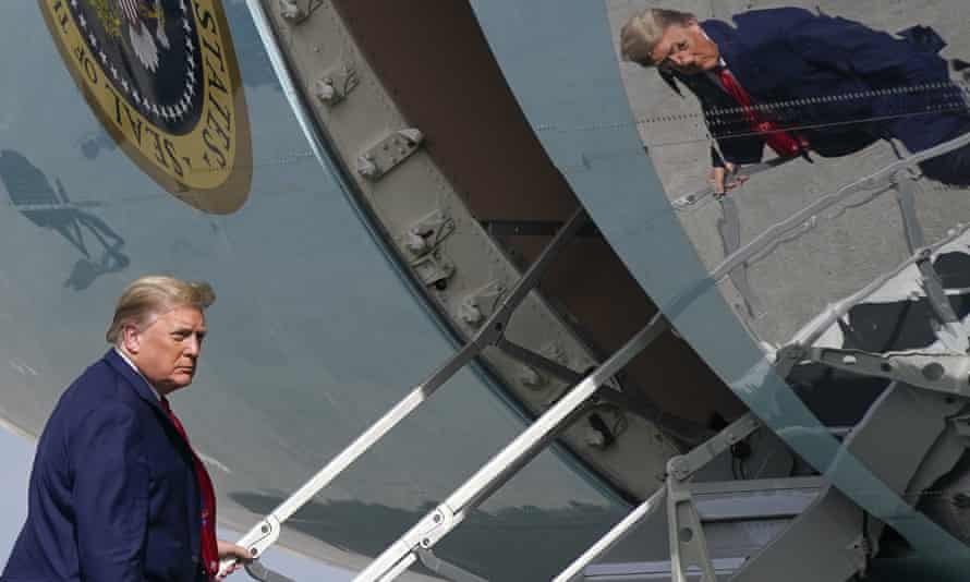 Donald Trump boards Air Force One in Florida on his way to Washington on Thursday.