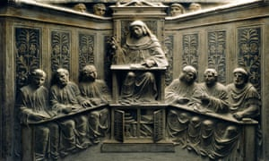 Teaching at the university, from the tomb of P.Canonici, Bologna, Italy