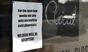 A sign stating that a local shop will only be accepting card payments during the coronavirus crisis in Leigh-on-Sea, UK.