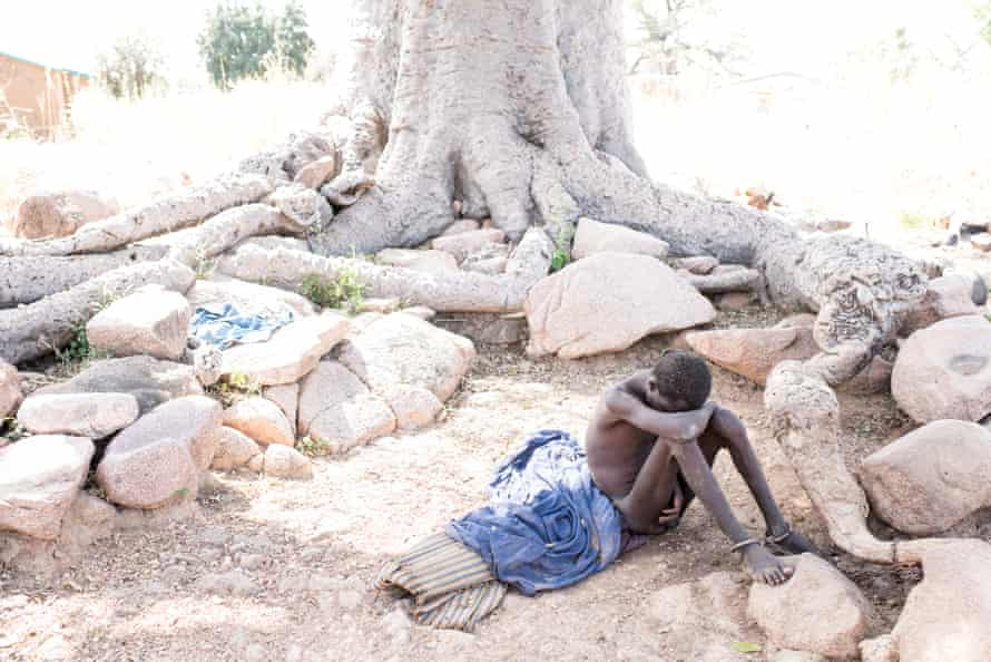 Baba Agunua has a serious mental health condition and became violent. Fearing he would attack his mother, his father chained him to a tree in Zorko village in Ghana. He remained there for three years until, after his story was featured in the Guardian, donations flooded in to help the family seek help and he was freed.