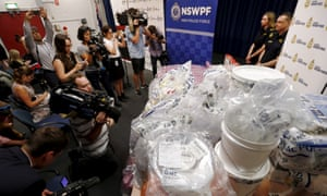 A quantity of liquid methamphetamine is put on display by Australian border force officers at a press conference, which they claimed was worth more than $1bn.
