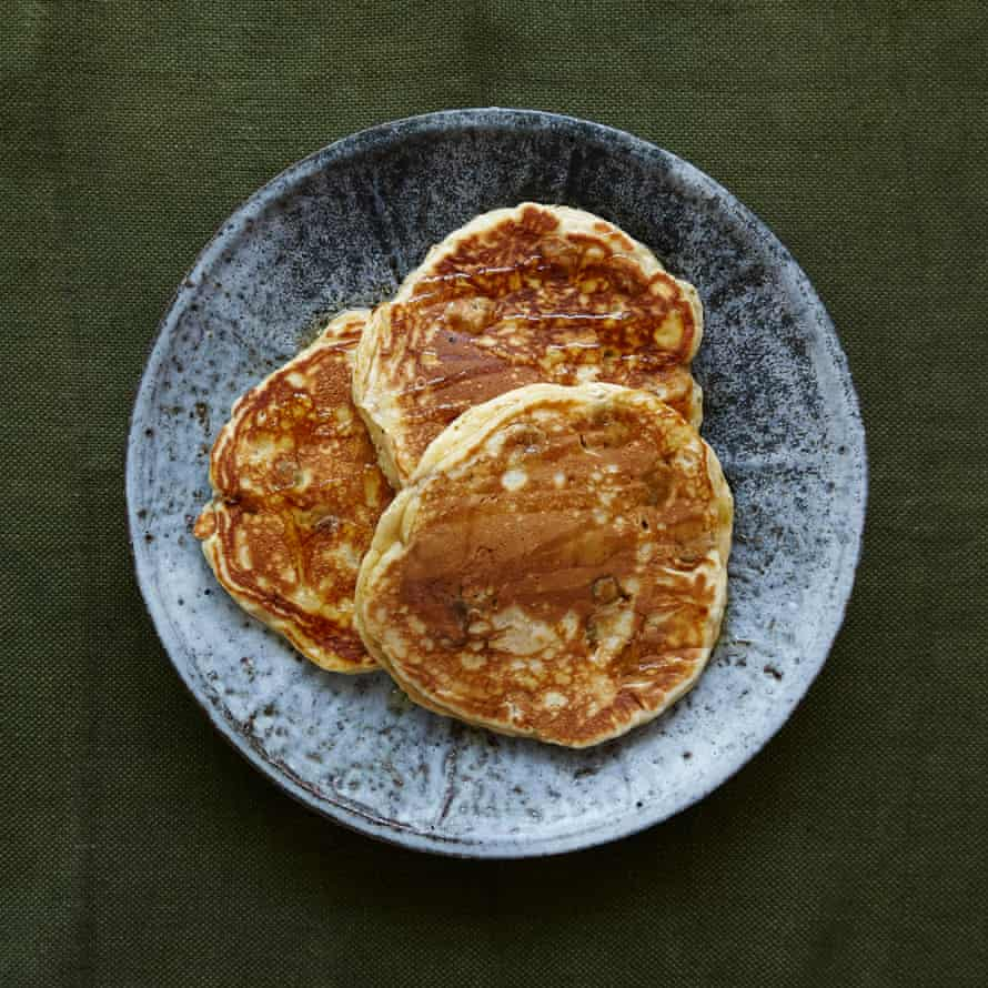 Jack Monroe's gooseberry pancakes drizzled with honey.