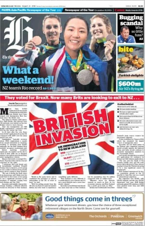 The New Zealand Herald's front page, leading on its story about a 'British invasion'