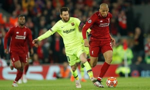 Fabinho gets the better of Lionel Messi in the semi-final win over Barcelona