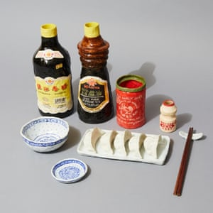 Dumplings With Oils And Sauce porcelain grocery artwork  by artist Stephanie H Shih.
