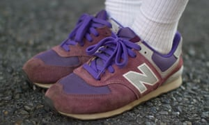 Purple New Balance trainers seen on the streets of Tokyo, August 2016.