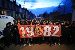 Atletico fans make their way to Anfield for the Champions League round of 16 match against Liverpool on 11 March 2020.