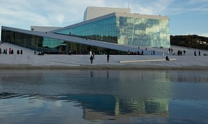 The Oslo Opera House on the city waterfront.