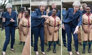 Theresa May breaking into dance (again) while in Nairobi.