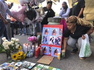 A makeshift memorial outside the public transit station where Nia Wilson was killed.