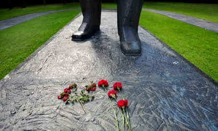 Flowers at the feet of the Gagarin statue in Star City, near Moscow.