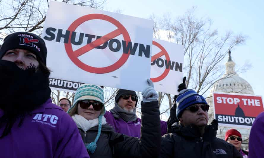 Federal air traffic controller union members protest the US federal government shutdown at the U.S. Capitol on 10 January.