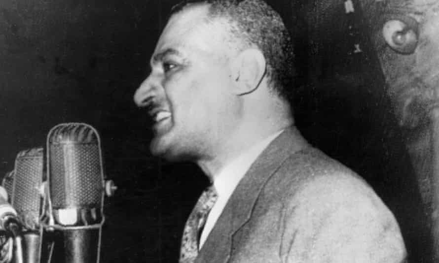 Egyptian president Gamal Abdel Nasser announces to a 50,000 strong crowd that Egypt has nationalised the Suez Canal Company, 26 July 1956.
