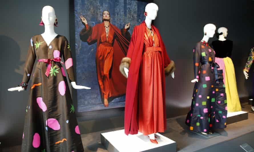 """Dresses are displayed during the exhibition """"Hubert de Givenchy"""" at """"Cite de la Dentelle et de la Mode"""" on June 15, 2017 in Calais, France"""