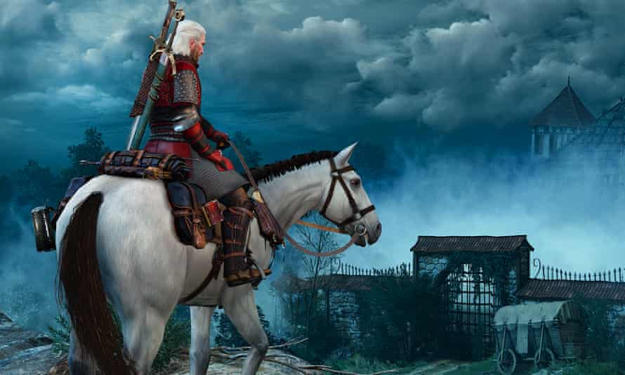 Geralt, Witcher 3 's main protagonist, on a white horse with dark clouds in the background