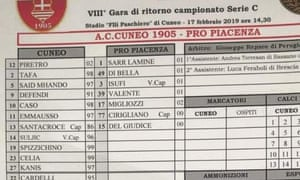The team-sheet from the Serie C match between Cuneo and Pro Piacenza.