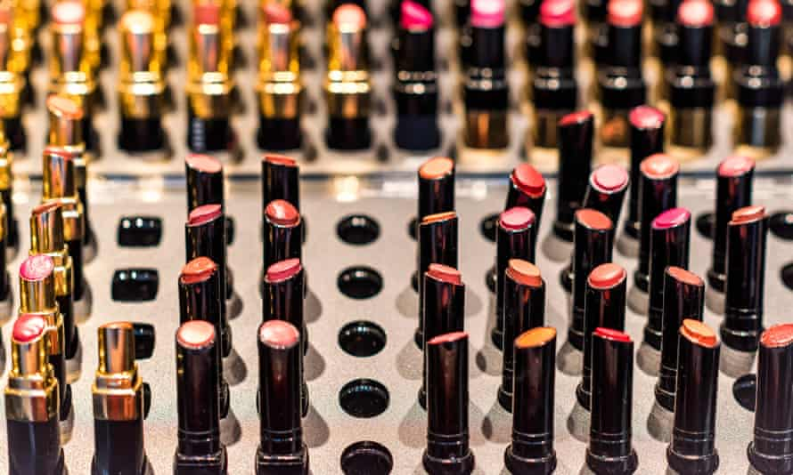 Trial lipstick at a makeup counter