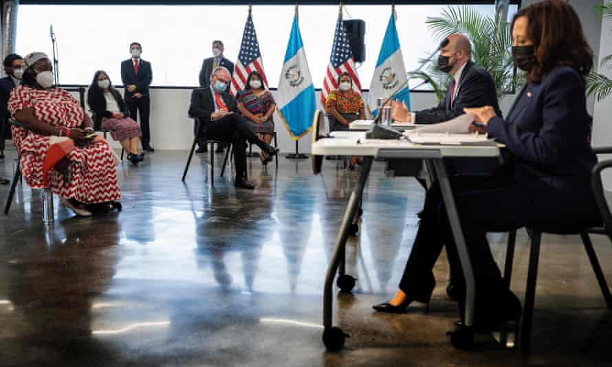 Harris participates in a roundtable with Guatemalan community and civil society leaders about addressing the root causes of migration, at Universidad del Valle de Guatemala, in Guatemala City.